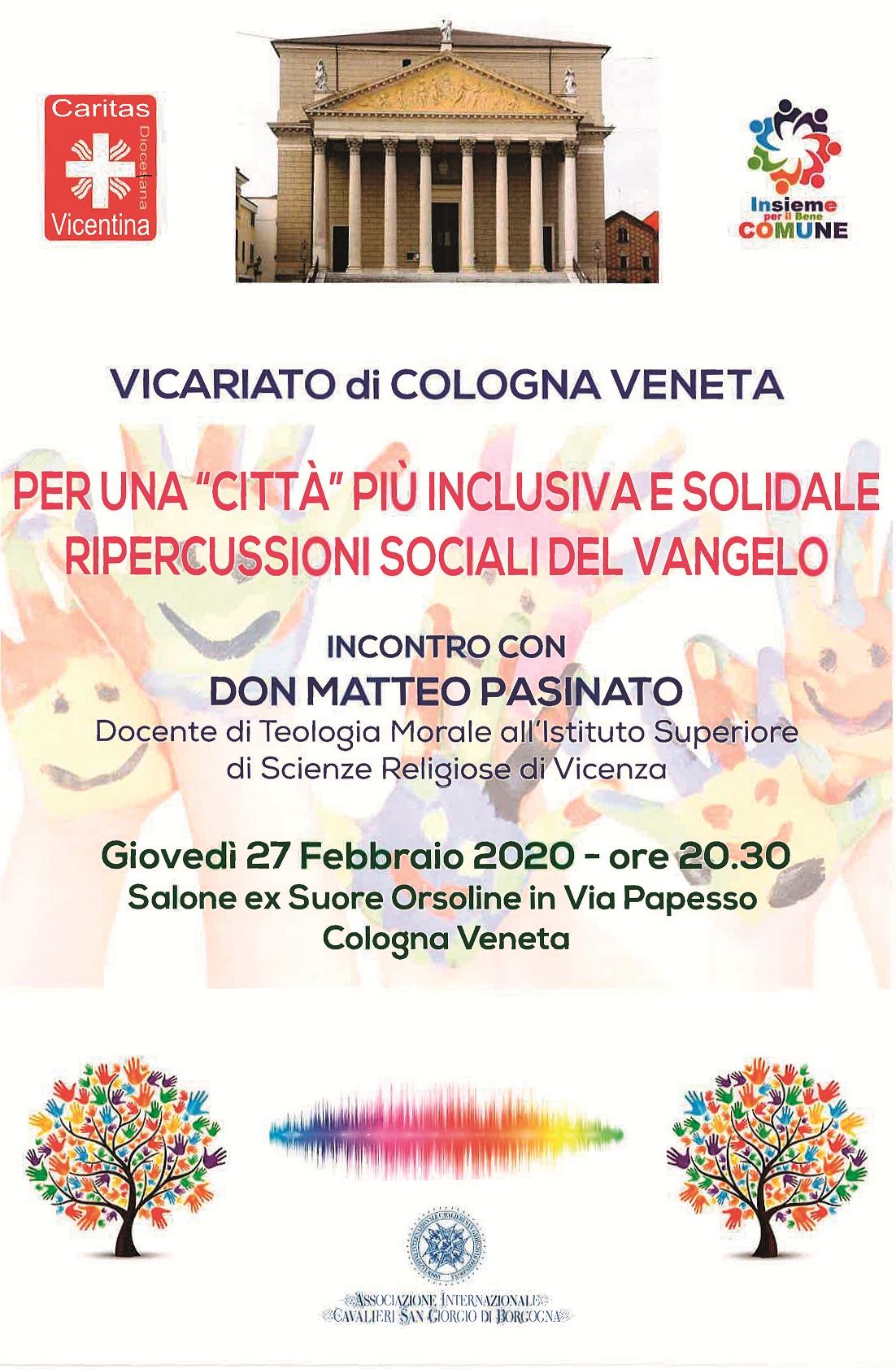 Cologna Veneta, un incontro per parlare di inclusione, solidarietà e Vangelo