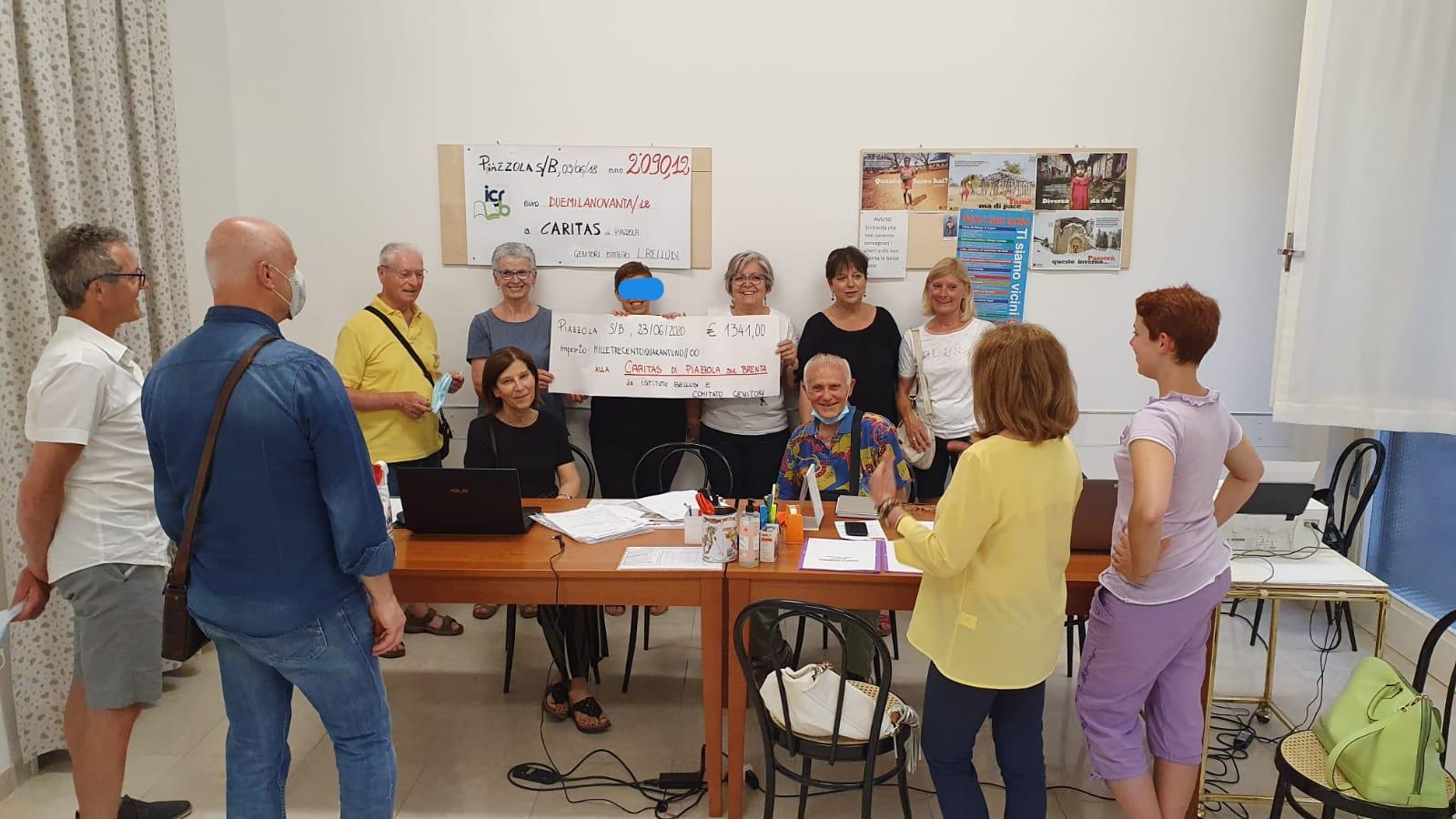 """Genitori dell'IC """"Belludi"""" e """"Giovedì Moto a.s.d"""" a sostegno della Caritas di Piazzola sul Brenta"""