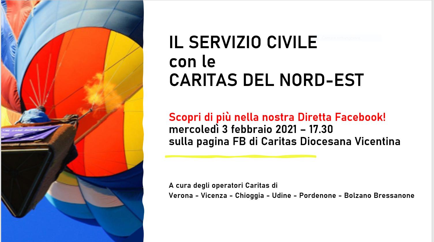 Una diretta Facebook per scoprire il Servizio Civile Universale nelle Caritas del Nord-Est