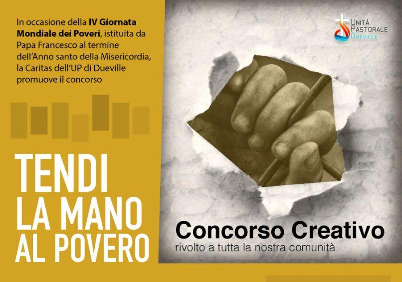 """""""Tendi la mano al povero"""": concorso creativo rivolto alla comunità dell'U.P. Dueville"""