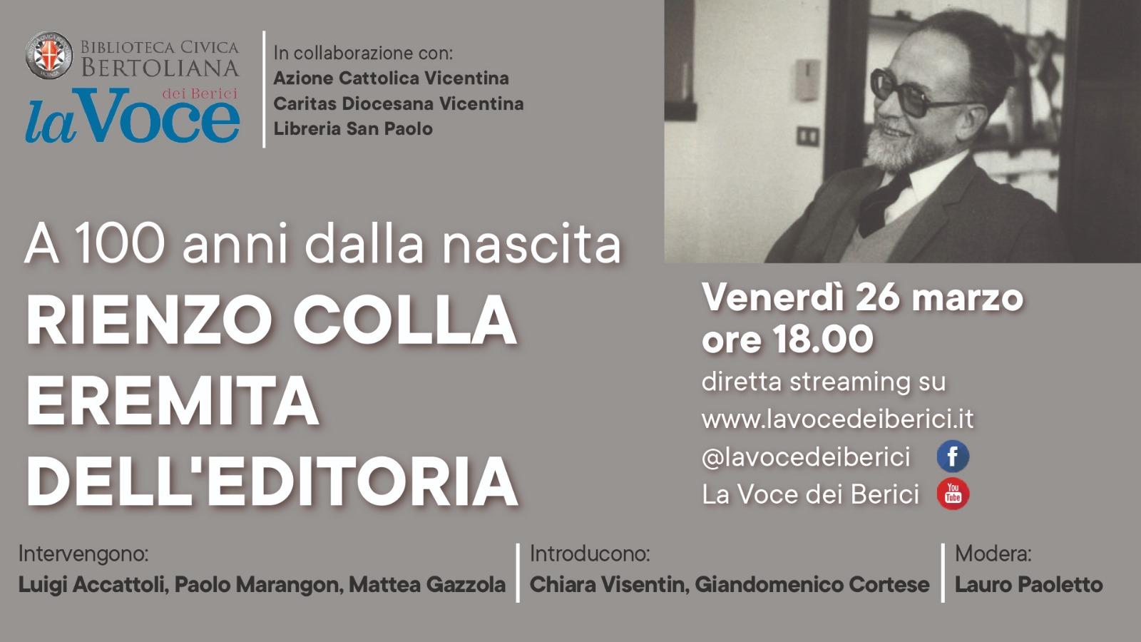 """""""Rienzo Colla, eremita dell'editoria"""": un webinar per i 100 anni dalla nascita del fondatore della Casa editrice La Locusta"""